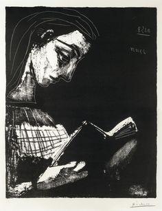 Pablo Picasso (1881 - 1973) - Reading Jacqueline (Jacqueline lisant), 1958