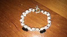 Pulsera de perlas de río cristal checo y timón plata y angelito plata