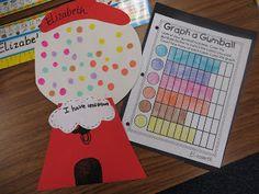 First Grade Wow: bubblegum graphing February First Grade Teachers, First Grade Classroom, Math Classroom, Kindergarten Math, Future Classroom, Classroom Ideas, Classroom Activities, Classroom Organization, Graphing First Grade