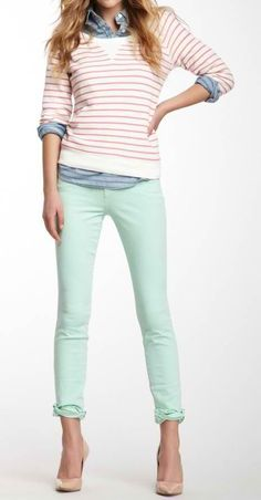 J. Crew preppy in pastels and stripea
