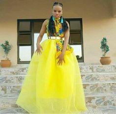 Beautiful Yellow Tsonga Bridesmaid's Dress 2020 Tsonga Traditional Dresses, Traditional Dresses Designs, African Traditional Wedding Dress, Traditional Wedding Attire, Traditional Outfits, Wedding Dress Styles, Designer Wedding Dresses, Popular Wedding Colors, African Wedding Attire