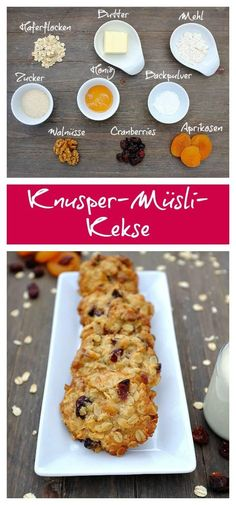 Crunchy muesli biscuits with apricots, cranberries and walnuts- Knusper-Müsli-Kekse mit Aprikosen, Cranberries und Walnüssen Biscuits Healthy Oatmeal Cookies, Oatmeal Cake, Healthy Cereal, Muesli, Cereal Cookies, Biscuit Cookies, Easy Smoothie Recipes, Quick Recipes, Biscuits Croustillants