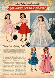 1957-xx-xx Sears Christmas Catalog P185 | Flickr - Photo Sharing! Christmas Catalogs, Christmas Books, Vintage Christmas, Old Dolls, Antique Dolls, Vintage Dolls, Vintage Advertisements, Vintage Ads, Baby Boomer Era