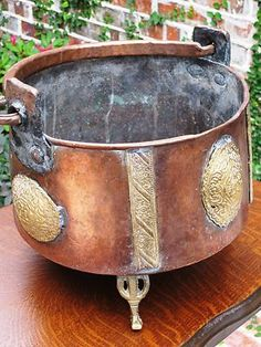 Antique English Large Copper Brass Cooking Pot or Kettle Late 19th Century | eBay
