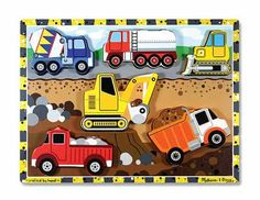 Melissa & Doug Chunky Construction Puzzle. Encourages hand-eye, fine motor and creative expression skills.  Suitable for ages 2+