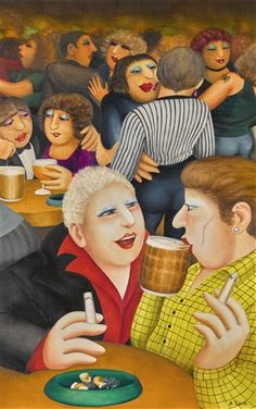 Beryl Cook (British artist) 1926 - 2008 In the Club, 1986 Beryl Cook, Plus Size Art, Funny Illustration, Illustrations, Funny Sexy, Naive Art, Global Art, English Artists, Funny Art