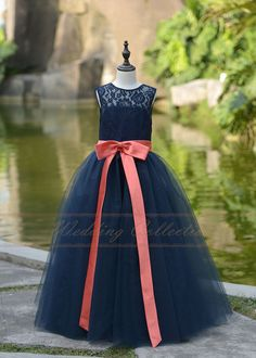 Navy Blue Lace Flower Girl Dress Floor Length by Wedding collection Pretty in Ivory with Burgundy Ribbon