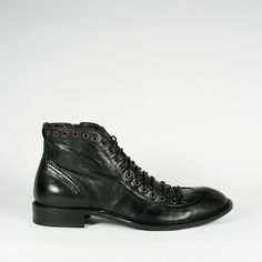 Jo Ghost Mens Shoes Round Toe Lace & Zip Black Boots