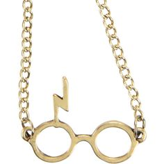 WB Harry Potter Glasses Logo Necklace ($8.50) ❤ liked on Polyvore featuring jewelry, necklaces, gold, yellow gold necklace, pendant necklace, gold necklace, gold chain necklace and gold pendant