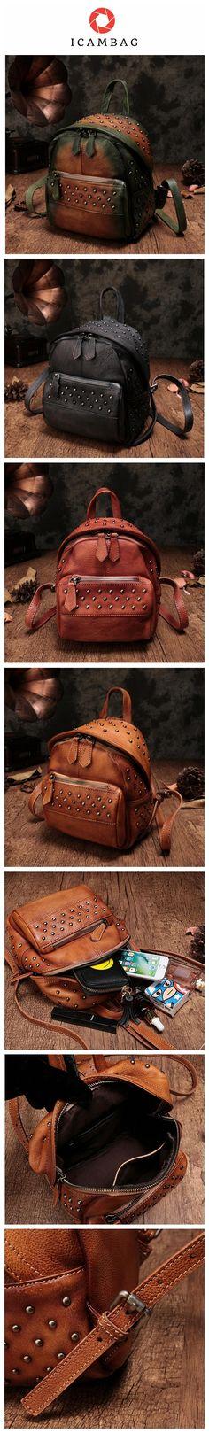 6a72e1291bbb Fashion Top Leather Handmade Rivet Soft Backpacks For Women