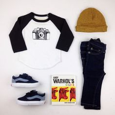 The new camera print ball tee, love beanie, mm dark rinse denim and spring Vans. #liveinminimioche