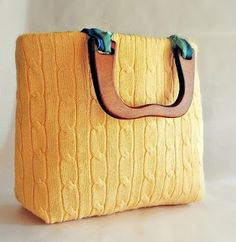 10 ideas for reusing old sweaters:   No. 5 -Handbag   #DIY #upcycle