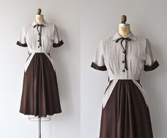 Millbelle dress • vintage 1950s dress • gabardine 50s dress - Vintage 1950s brown and white check dress with button bodice, tie collar, short contract cuff sleeves, fitted waist with darts, contrast hip pockets, full skirt and metal side zipper.