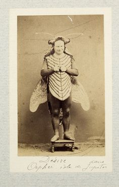 """The Fly - 20 Incredibly Bizarre Vintage Halloween Costumes - """"Desire"""" - 1865 vintage photography"""