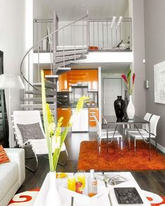 An Ideal Small Loft Interior Design. mini kitchen under loft space. visioning a cozy getaway /guest nook above: wall of books, full bed with headboard /nightstand and reading /mood lamps. Studio Apartment Design, Small Apartment Design, Apartment Interior, Home Interior, Apartment Living, Apartment Ideas, Living Rooms, Apartment Guide, Studio Apt