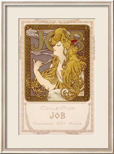 Mucha Nouveau Job Calendar Poster Estampe encadrée