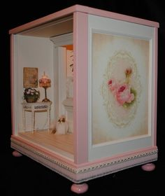 """RoomBox Reading Nook Dollhouses 1:12 Scale by dollhousesbyliz. Overall Dimensions: 11"""" W. X 7"""" D. X 11"""" H."""