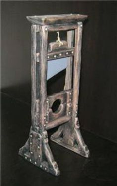 dolls house rustic french revolution GUILLOTINE dungeon castle mahogany no. 32. $50.00, via Etsy. Haunted Dollhouse, Haunted Dolls, Diy Dollhouse, Dollhouse Furniture, Dollhouse Miniatures, Halloween Village, Halloween Doll, Halloween Costumes, Creepy Houses