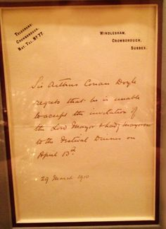 A handwritten note from Sir Arthur Conan Doyle, dated 29 March 1910. He politely declined an invitation from the Lord Mayor of London to a Festival Dinner.