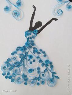 Картина панно рисунок Квиллинг Балерина Бумажные полосы фото 1