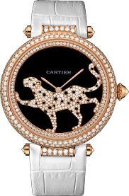 Большая модель, розовое золото, кожа, бриллианты