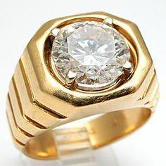 VINTAGE 4.38CT DIAMOND MENS WEDDING RING SOLID 18K GOLD