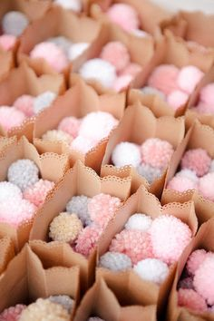 "Pom Pom confetti in gray, pink, and white in a brown bag cut with a scalloped punch for the recessional. A little sign on each bag says, ""When the newlyweds walks your way, toss the pom poms and shout hooray! Wedding Favors, Diy Wedding, Wedding Photos, Dream Wedding, Wedding Decorations, Wedding Day, Wedding Ceremony, Party Favours, Wedding Receptions"