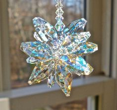 "Aurora Borealis Swarovski Crystal Cluster Suncatcher, Glistens in Low Light, Cluster Made with AB Crystal Octagons - ""STELLA AB -"