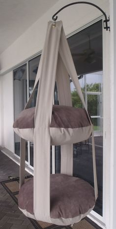 Cat Bed, Neutral Earth Tones Hanging Cat Bed, Double Kitty Cloud