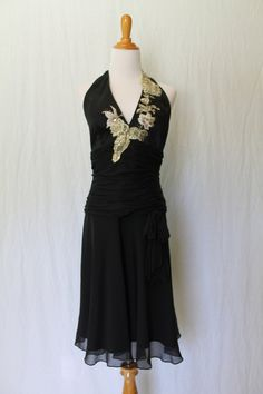 Vintage Adrianna Papell 1920 1930's style Black Embellished Silk Halter Dress Ballroom Dancing Dress size 6 small by LePetiteLavoir on Etsy