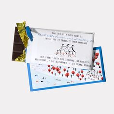 """A Chocolate-Wrapper Invitation for a Summer Wedding. """"Mr. Timonty Lite"""" invitation, from $4,500 for 100 invitations (wrappers and assembly only), Mr. Boddington's Studio"""
