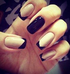 Nails black and white . bkqck and white nails Nail Art Designs, Classy Nail Designs, Black Nail Designs, Nails Design, Design Art, Black And Nude Nails, Beige Nails, Nail Black, Love Nails
