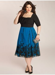 "Averie Plus Size Dress by IGIGI Details     The dress has a look of a top and a skirt     Square neck, draped bodice fits smaller to larger busts     Set-in sleeves end at the elbow     Silhouette-cinching 3"" high-waistband     A-line, light-weight georgette skirt     Fully lined     Invisible side zipper  Color:  Black/Royal Blue Material:  Chiffon and Poly/Elastane Care:  Dry Clean Only Sku:  3A003BBLK"