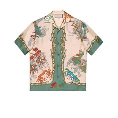 Gucci Silk bowling shirt with jousting print - Neutrals Long Sleeve Running Shirt, Running Shirts, Green Velvet Jacket, Casual Shirts For Men, Men Casual, Gucci Shirts, Men's Shirts, Going Out Tops, Fashion Prints