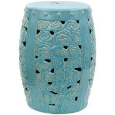 "18"" Carved Clouds Porcelain Garden Stool - OrientalFurniture.com $124"