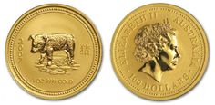 Lunar Gold 2007 1 oz Year Pig Series 1 - Last Rare Bullion Au 24K $100 Australia