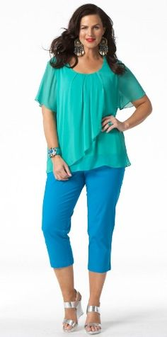 GREEK ISLAND FRILL TOP by My Size. Stunning colour combo.