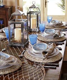 Table with fishing nets and ropes