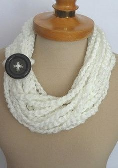 Infinity Scarf Crochet Necklace white color by IskaCreations, $15.00