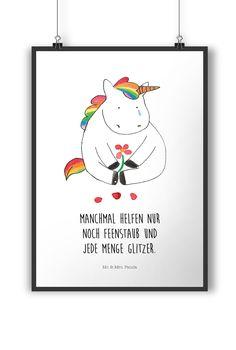 Poster DIN A4 Einhorn Traurig aus Papier 160 Gramm  weiß - Das Original von Mr. & Mrs. Panda.  Jedes wunderschöne Poster aus dem Hause Mr. & Mrs. Panda ist mit Liebe handgezeichnet und entworfen. Wir liefern es sicher und schnell im Format DIN A4 zu dir nach Hause.    Über unser Motiv Einhorn Traurig  Ein wunderschönes Einhorn aus der Mr. & Mrs. Panda Einhorn Collection    Verwendete Materialien  Es handelt sich um sehr hochwertiges und edles Papier in der Stärke 160 Gramm    Über Mr. & Mrs…
