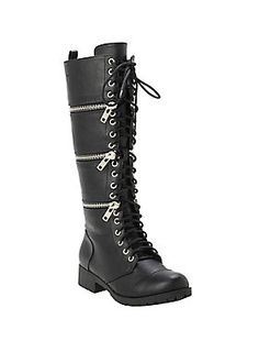 """Black boots with three zip-off accents and lace-up closure.<br><br>Runs one size small.<ul><li> Man-made materials</li><li>14"""" tall; 1 1/4"""" heel</li><li>Imported</li><li>Listed in women's sizes</li></ul>"""