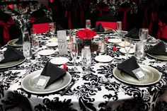 Wedding Reception Decor Damask Tablecloths Small Red Rose Centerpiece Black Chair Covers With Sashes View More From This And Wedd