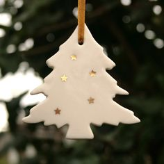 Porcelain Tree Decoration with Real Gold Lustre Stars