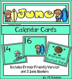 if you are looking for a cute and fun june calendar theme or are wanting to update what you have now look no further this pack contains calendar cards