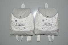 Jumeaux Duo Sacs à dos gris enfant étoiles brodés : Sacs à dos, cartables par lbm-creation