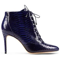 Alexandre Birman Blue Python Lace-Up Bootie (£815) ❤ liked on Polyvore featuring shoes, boots, ankle booties, blue, short boots, leather boots, leather lace up booties, leather bootie and blue leather boots