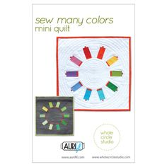 This free, foundation paper piecing pattern makes a x quilt and is great as a wallhanging for your sewing room. Show off your love of Aurifil thread! Make additional blocks to construct a larger quilt—layout ideas included in this pattern. Mini Quilt Patterns, Paper Piecing Patterns, Scrappy Quilts, Mini Quilts, Foundation Paper Piecing, Sewing Rooms, Small Quilts, Digital Pattern, Pattern Making