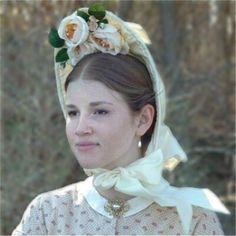 """Beautiful bonnet from """"In Timely Fashion""""  Love the cabbage roses..."""