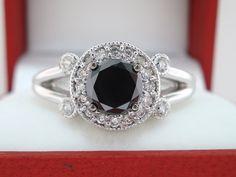 18k White Gold 1.03 Carat CERTIFIED Vintage Style  VVS1 Fancy Black & White Diamonds Unique Halo Engagement Ring