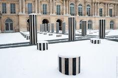 Colonnes, Palais Royal sous la neige